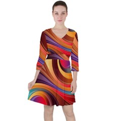 Abstract Colorful Background Wavy Ruffle Dress