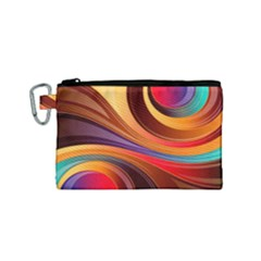 Abstract Colorful Background Wavy Canvas Cosmetic Bag (small) by Nexatart