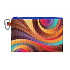 Abstract Colorful Background Wavy Canvas Cosmetic Bag (large) by Nexatart