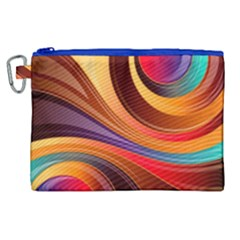 Abstract Colorful Background Wavy Canvas Cosmetic Bag (xl) by Nexatart