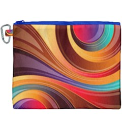 Abstract Colorful Background Wavy Canvas Cosmetic Bag (xxxl) by Nexatart