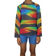 Colorful Background Kids  Long Sleeve Swimwear