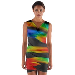 Colorful Background Wrap Front Bodycon Dress