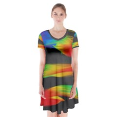 Colorful Background Short Sleeve V Neck Flare Dress