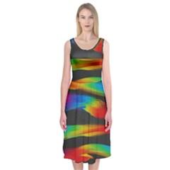 Colorful Background Midi Sleeveless Dress
