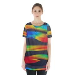 Colorful Background Skirt Hem Sports Top