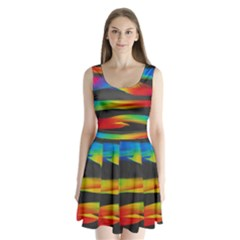 Colorful Background Split Back Mini Dress