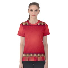 Background Red Abstract Women s Cotton Tee