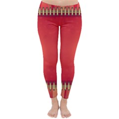 Background Red Abstract Classic Winter Leggings