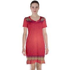 Background Red Abstract Short Sleeve Nightdress