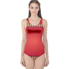 Background Red Abstract One Piece Swimsuit