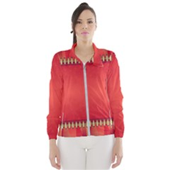 Background Red Abstract Wind Breaker (women)