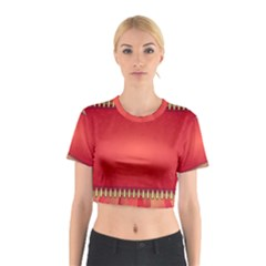 Background Red Abstract Cotton Crop Top