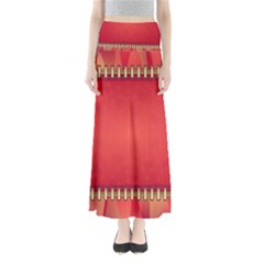 Background Red Abstract Full Length Maxi Skirt