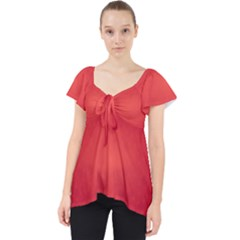 Background Red Abstract Lace Front Dolly Top