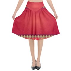 Background Red Abstract Flared Midi Skirt