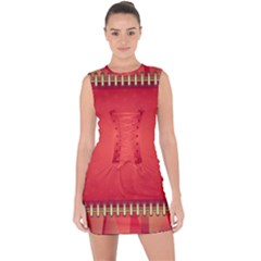 Background Red Abstract Lace Up Front Bodycon Dress