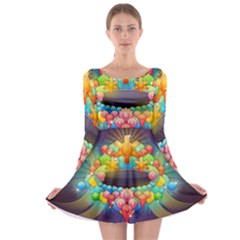 Badge Abstract Abstract Design Long Sleeve Skater Dress