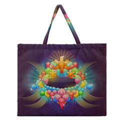 Badge Abstract Abstract Design Zipper Large Tote Bag