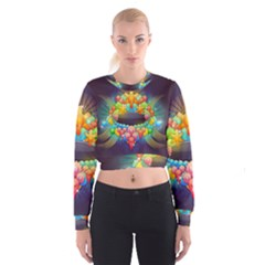 Badge Abstract Abstract Design Cropped Sweatshirt