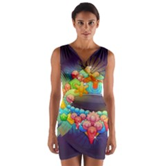 Badge Abstract Abstract Design Wrap Front Bodycon Dress
