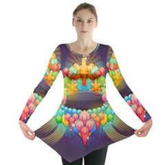 Badge Abstract Abstract Design Long Sleeve Tunic