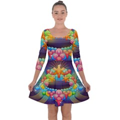 Badge Abstract Abstract Design Quarter Sleeve Skater Dress