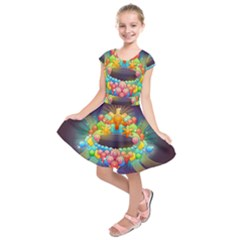 Badge Abstract Abstract Design Kids  Short Sleeve Dress
