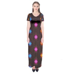 Lanterns Background Lamps Light Short Sleeve Maxi Dress