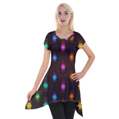 Lanterns Background Lamps Light Short Sleeve Side Drop Tunic
