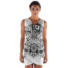 Forest Patrol Tribal Abstract Wrap Front Bodycon Dress