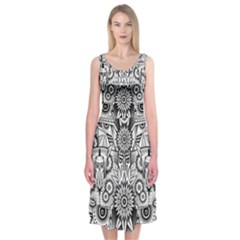 Forest Patrol Tribal Abstract Midi Sleeveless Dress