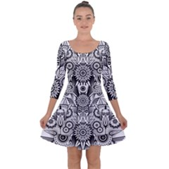 Forest Patrol Tribal Abstract Quarter Sleeve Skater Dress