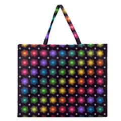 Background Colorful Geometric Zipper Large Tote Bag by Nexatart