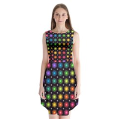 Background Colorful Geometric Sleeveless Chiffon Dress