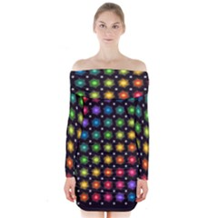 Background Colorful Geometric Long Sleeve Off Shoulder Dress