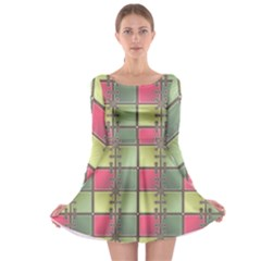 Seamless Pattern Seamless Design Long Sleeve Skater Dress
