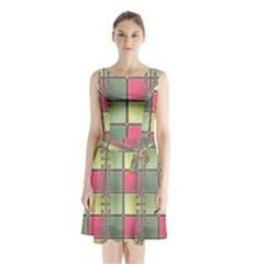 Seamless Pattern Seamless Design Sleeveless Waist Tie Chiffon Dress