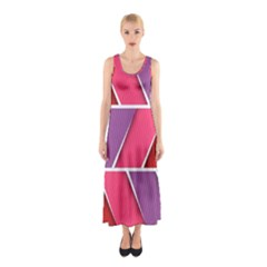 Abstract Background Colorful Sleeveless Maxi Dress