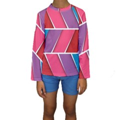 Abstract Background Colorful Kids  Long Sleeve Swimwear