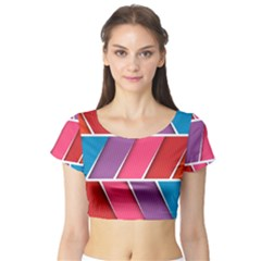Abstract Background Colorful Short Sleeve Crop Top