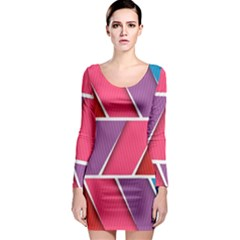 Abstract Background Colorful Long Sleeve Bodycon Dress