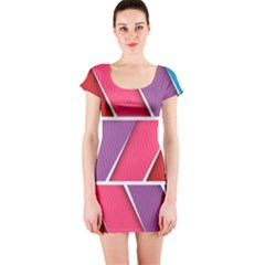 Abstract Background Colorful Short Sleeve Bodycon Dress