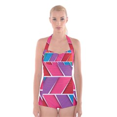 Abstract Background Colorful Boyleg Halter Swimsuit