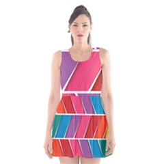 Abstract Background Colorful Scoop Neck Skater Dress