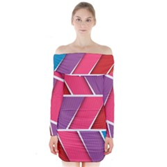 Abstract Background Colorful Long Sleeve Off Shoulder Dress