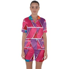 Abstract Background Colorful Satin Short Sleeve Pyjamas Set