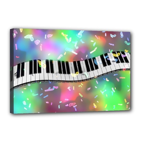 Piano Keys Music Colorful 3d Canvas 18  X 12