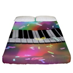 Piano Keys Music Colorful 3d Fitted Sheet (king Size)