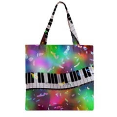 Piano Keys Music Colorful 3d Zipper Grocery Tote Bag
